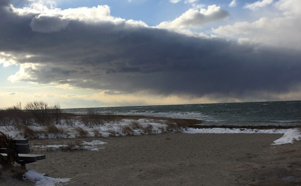 Ominous Storm Clouds Over Rock Harbor In Orleans On Cape Cod