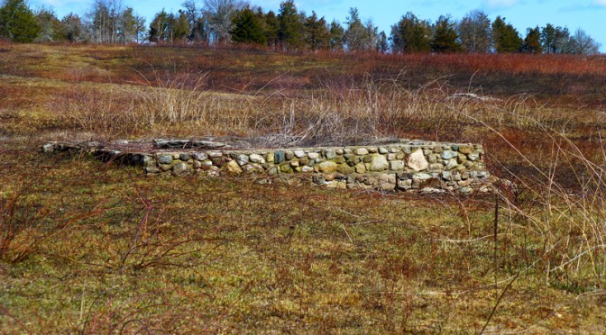 Old Stone Foundation At Fort Hill On Cape Cod
