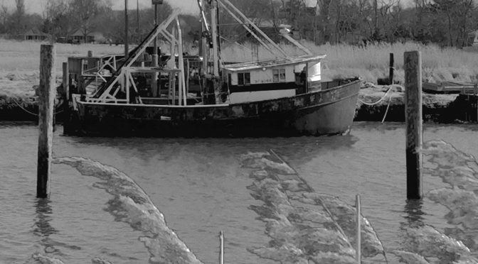 Black And White Photograph Of An Old Fishing Boat At Rock Harbor On Cape Cod