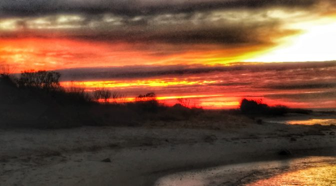Red Sky At Sunset On Cape Cod Bay
