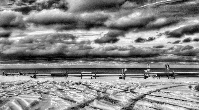 A Snowy First Encounter Beach Parking Lot On Cape Cod In Black And White