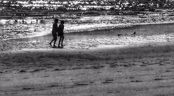 Black And White Photograph Of Two Friends At Coast Guard Beach On Cape Cod