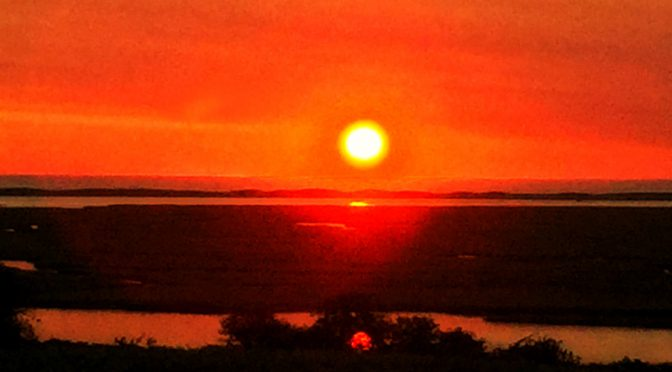 Orange Sunrise Over Nauset Marsh At Fort Hill On Cape Cod
