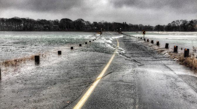 Bridge Road Salt Marsh In Eastham On Cape Cod Is Flooded
