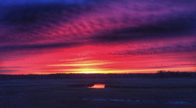 Spectacular Sunrise Over Boat Meadow Salt Marsh On Cape Cod