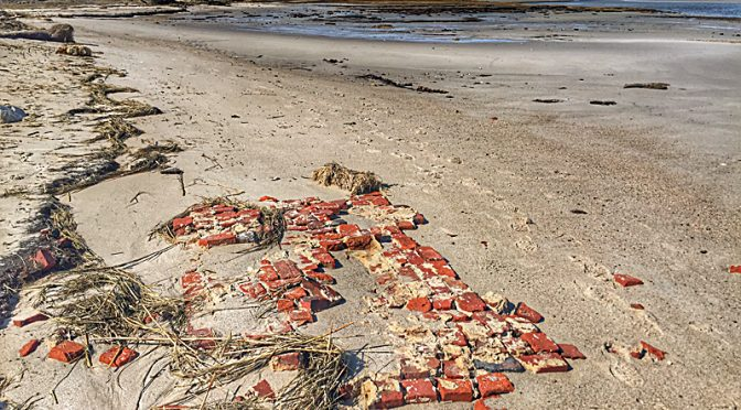Lots Of Bricks On Boat Meadow Beach After The Storm On Cape Cod Bay