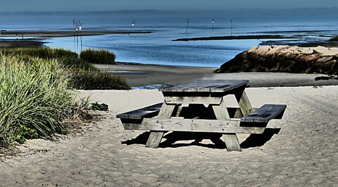 Great Picnic Table At Rock Harbor On Cape Cod.