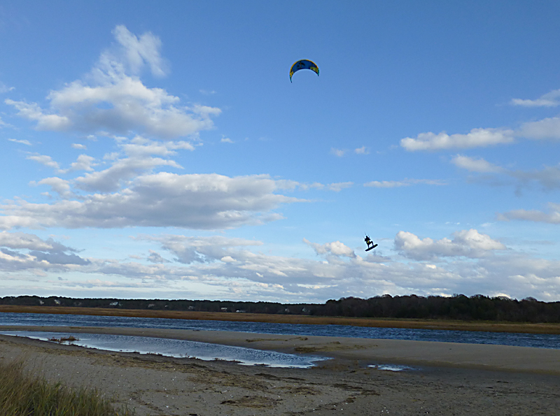 Kite Surfing At First Encounter Beach On Cape Cod.