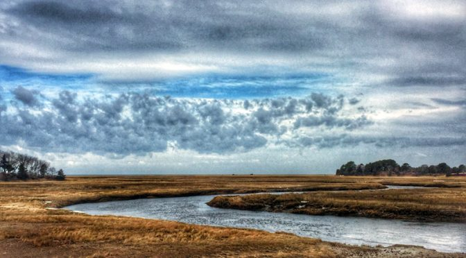 Stunning Clouds Over The Salt Marsh On Cape Cod.