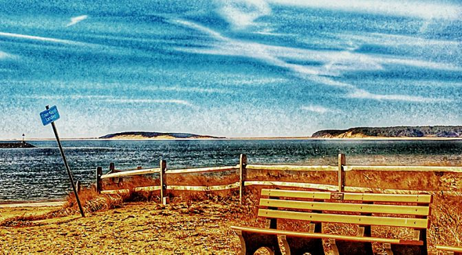 Inviting Bench At Wellfleet Harbor On Cape Cod!