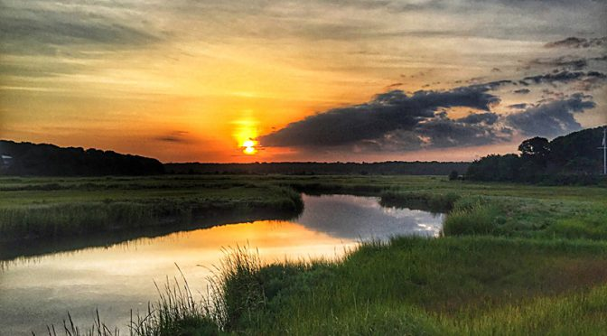 Gorgeous Sunrise On The Salt Marsh On Cape Cod.