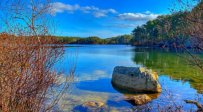 Pretty Kettle Pond With Glacial Rocks On Cape Cod.