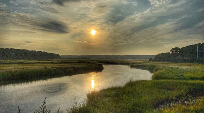 Gorgeous Sunrise Over The Salt Marsh On Cape Cod.