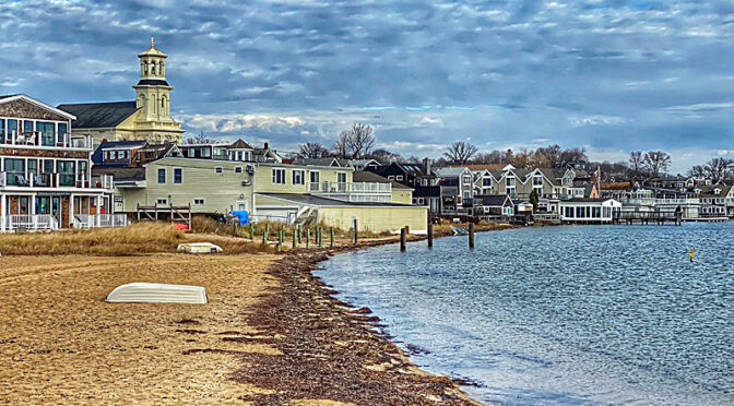 Looking Down The Beach In Provincetown Harbor On Cape Cod.