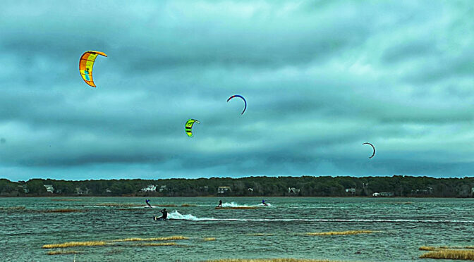 Very Talented Kite-Surfers On The Salt Marsh On Cape Cod!