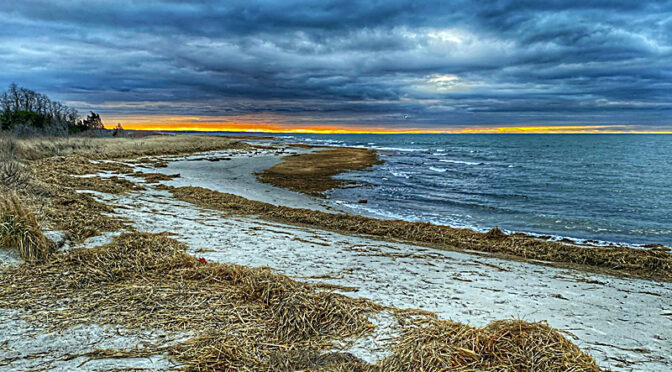 Sunset At Rock Harbor Over Cape Cod Bay.