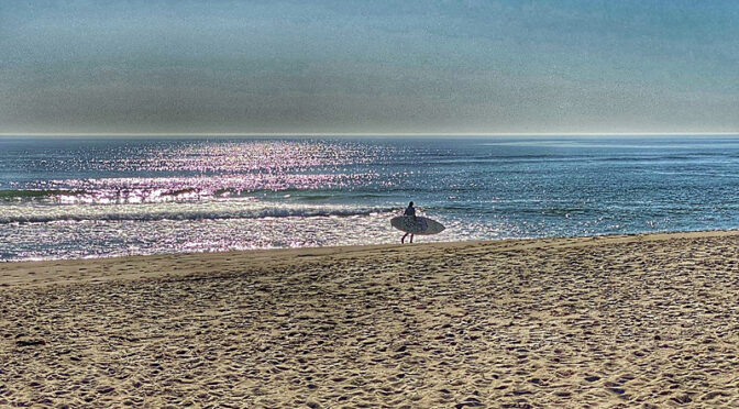Lone Morning Surfer At Coast Guard Beach On Cape Cod.