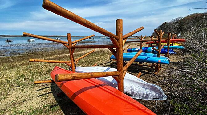 New Kayak And Canoe Racks At Hemenway Landing On Cape Cod.