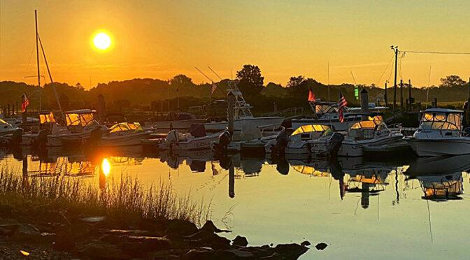 The Rising Sun At Rock Harbor On Cape Cod.