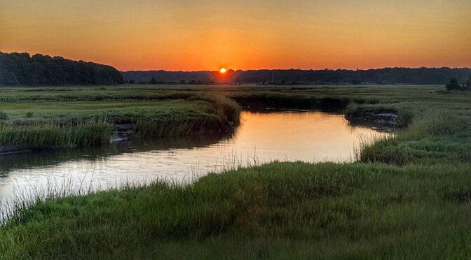 Gorgeous Sunrise Over The Salt Marsh On Cape Cod.