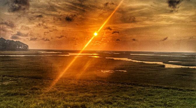 Three Views Of A Salt Marsh Sunset On Cape Cod.
